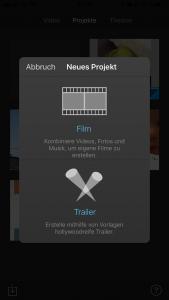 iMovie screenshot Neues Projekt starten