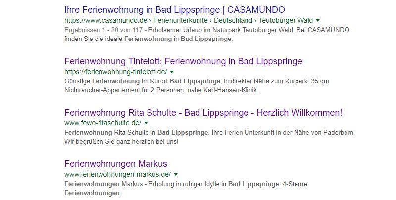 Suchmaschinenoptimierung. Google Suchergebnis organisch. Organic Search